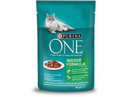 Purina ONE INDOOR  mini filetky s tunakem a zel.fazolkami ve stave 85g