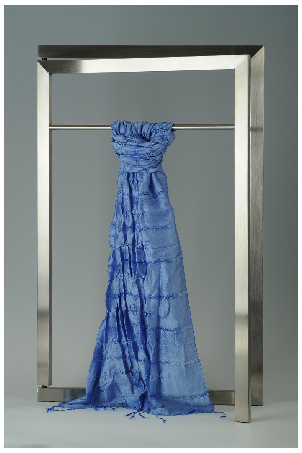 Šála z hedvábí a bavlny s jemnými proužky, plisovaná HBP_348