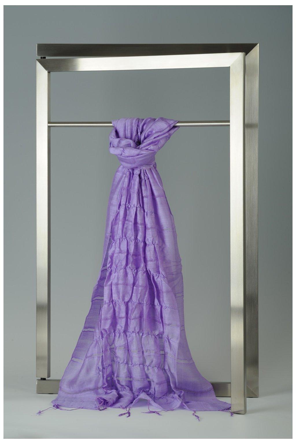 Šála z hedvábí a bavlny s jemnými proužky, plisovaná HBP_40