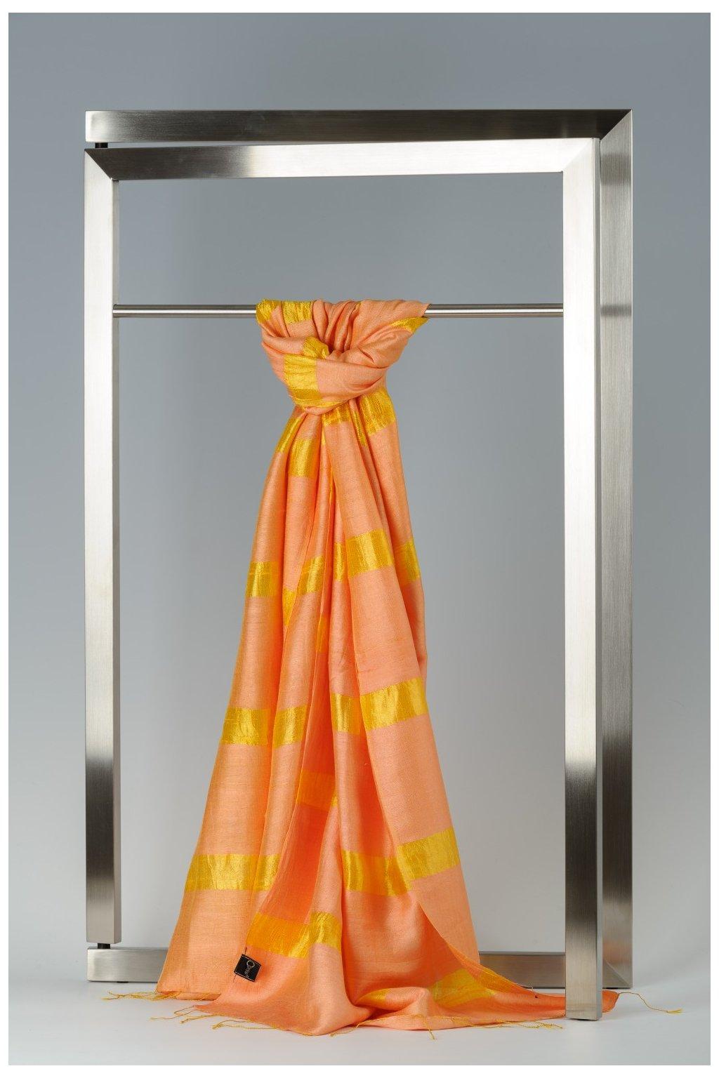 Šála z hedvábí a bavlny s proužky - HBR003