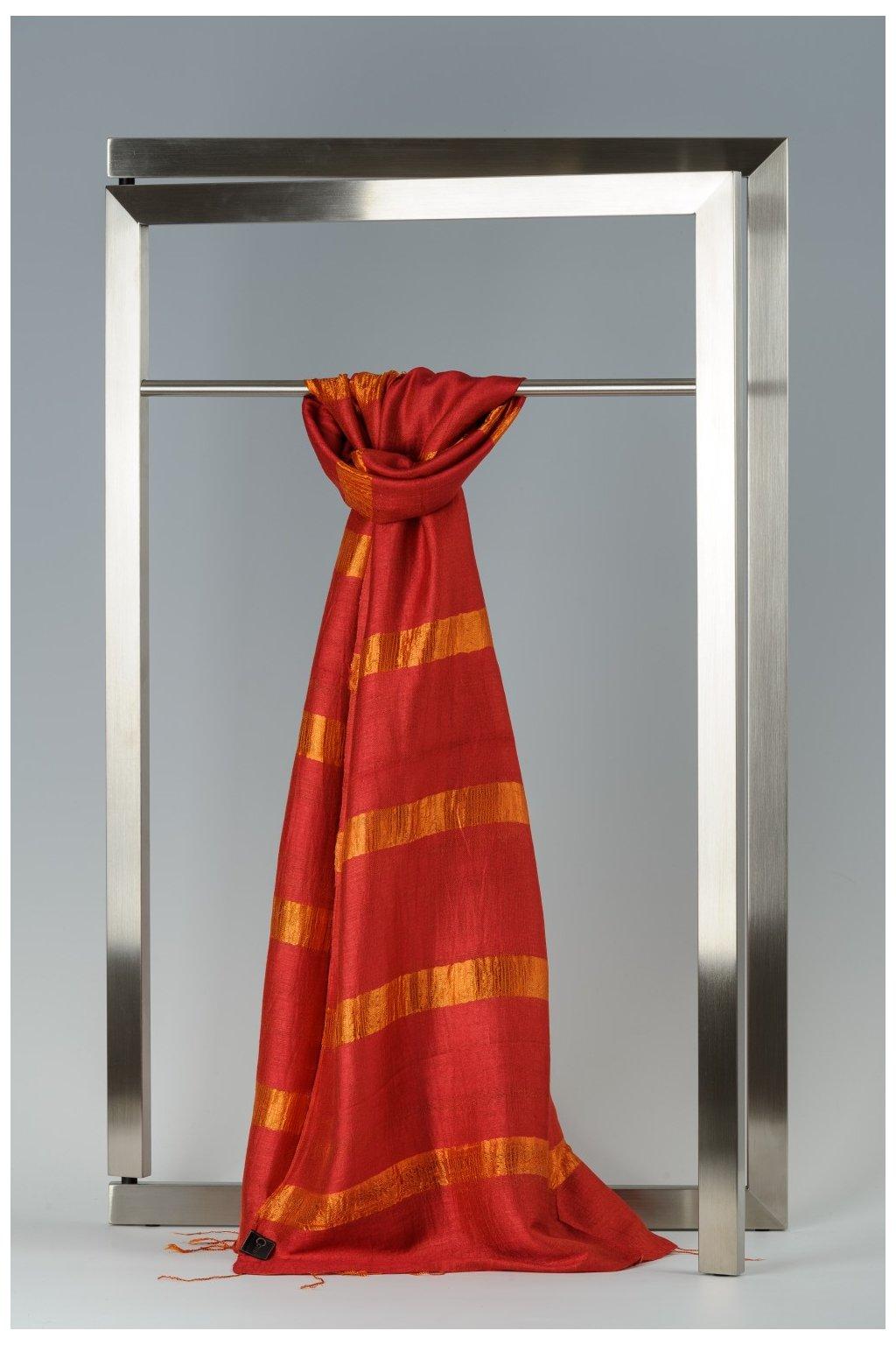 Šála z hedvábí a bavlny s proužky - HBR005