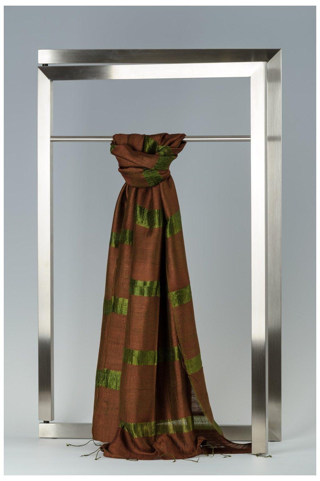 Šála z hedvábí a bavlny s proužky - HBR019
