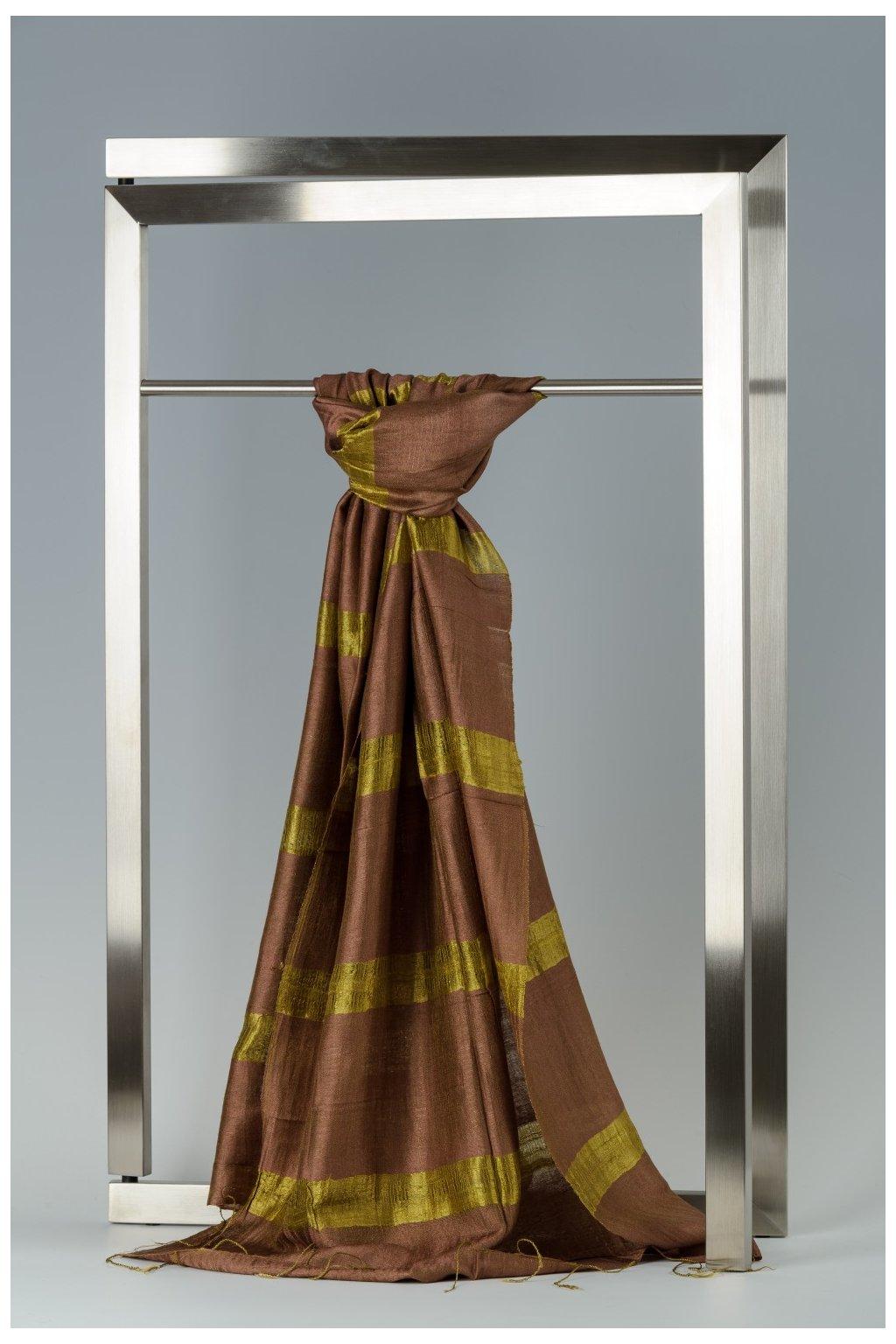 Šála z hedvábí a bavlny s proužky - HBR020