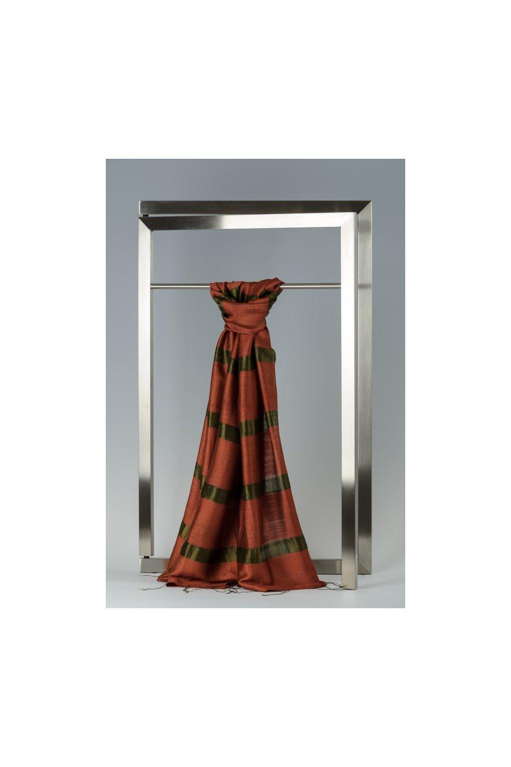 Šála z hedvábí a bavlny s proužky - HBR022