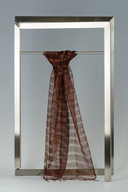 Šála z hedvábí proužkovaná, jednobarevná menší - HJPM009