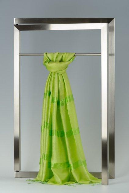 Šála z hedvábí a bavlny s proužky - HBR018