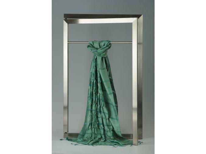 Šála z hedvábí a bavlny s jemnými proužky, plisovaná HBP_171