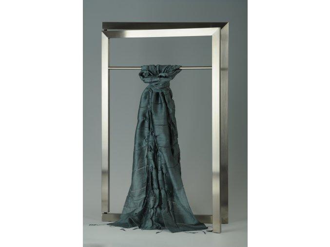 Šála z hedvábí a bavlny s jemnými proužky, plisovaná HBP_33