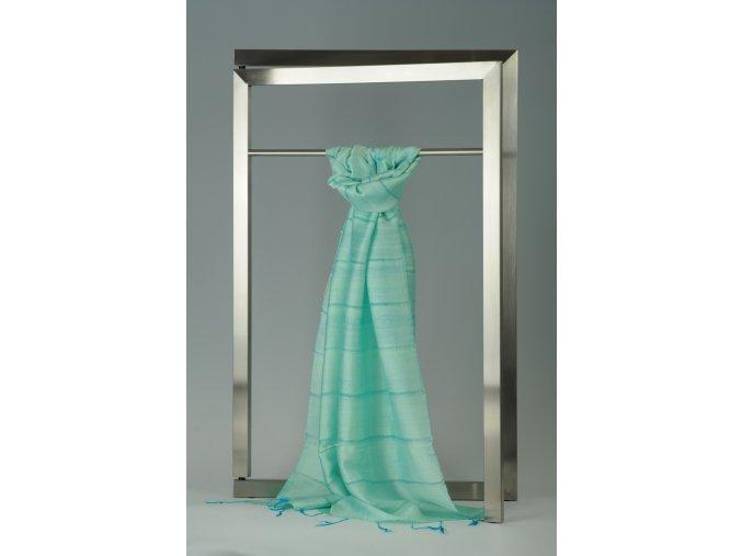 Šála z hedvábí a bavlny s jemnými proužky HB_91