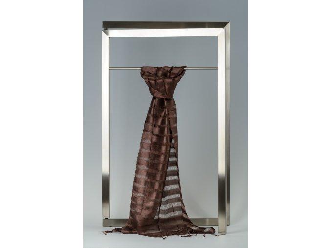 Šála z hedvábí proužkovaná, jednobarevná menší - HJPM010