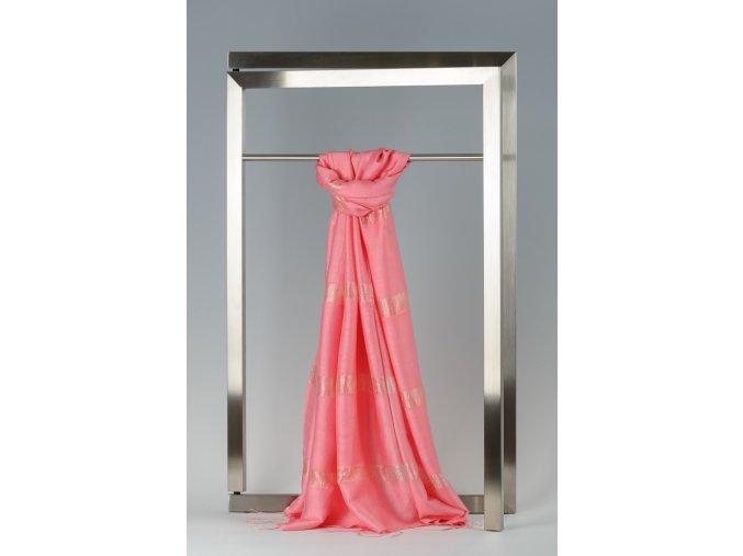Šála z hedvábí a bavlny s proužky - HBR006