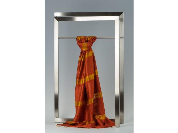 Šála z hedvábí a bavlny s proužky - HBR010