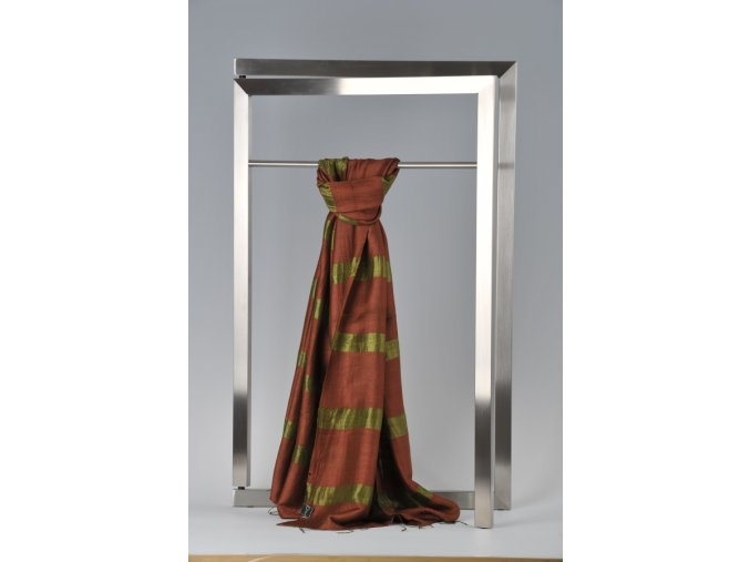 Šála z hedvábí a bavlny s proužky - HBR021