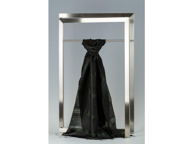 Šála z hedvábí a bavlny s proužky - HBR023
