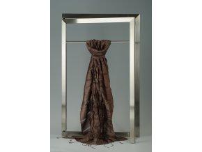 Šála z hedvábí a bavlny s jemnými proužky, plisovaná HBP_209