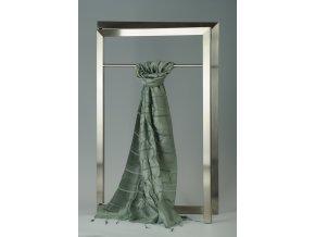 Šála z hedvábí a bavlny s jemnými proužky, plisovaná HBP_239