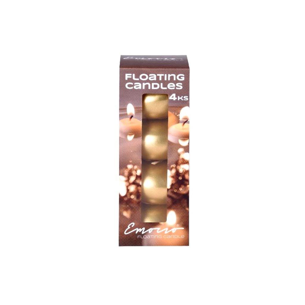 Emocio - plovoucí svíčky zlaté, 4 ks