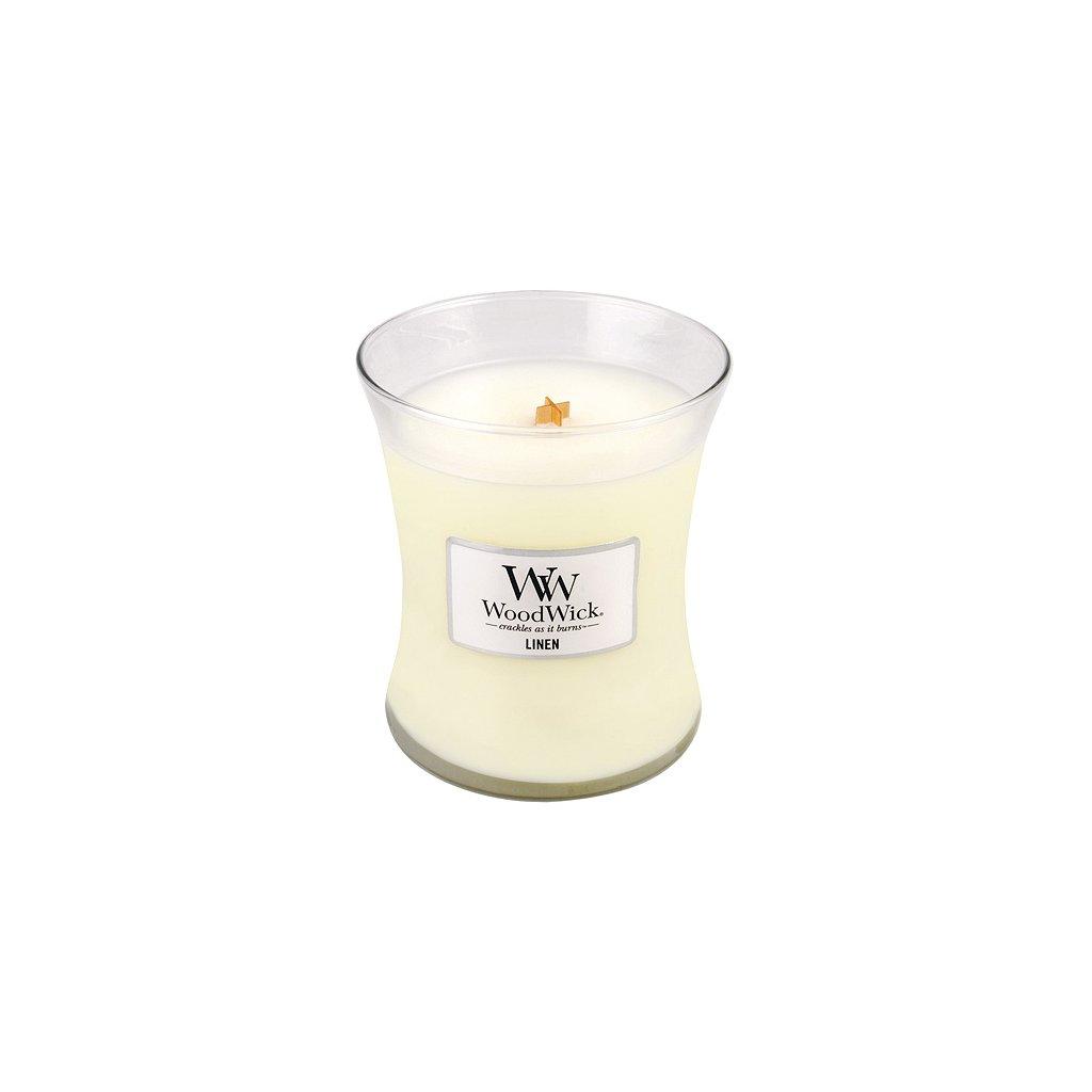 WoodWick - vonná svíčka Linen (Čisté prádlo) 275g