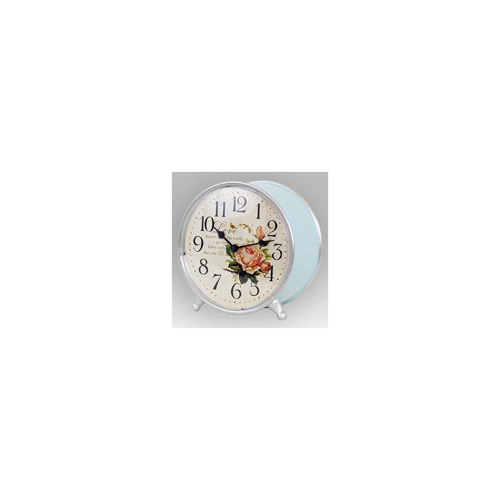 Stolní hodiny s růží, modré 21 cm