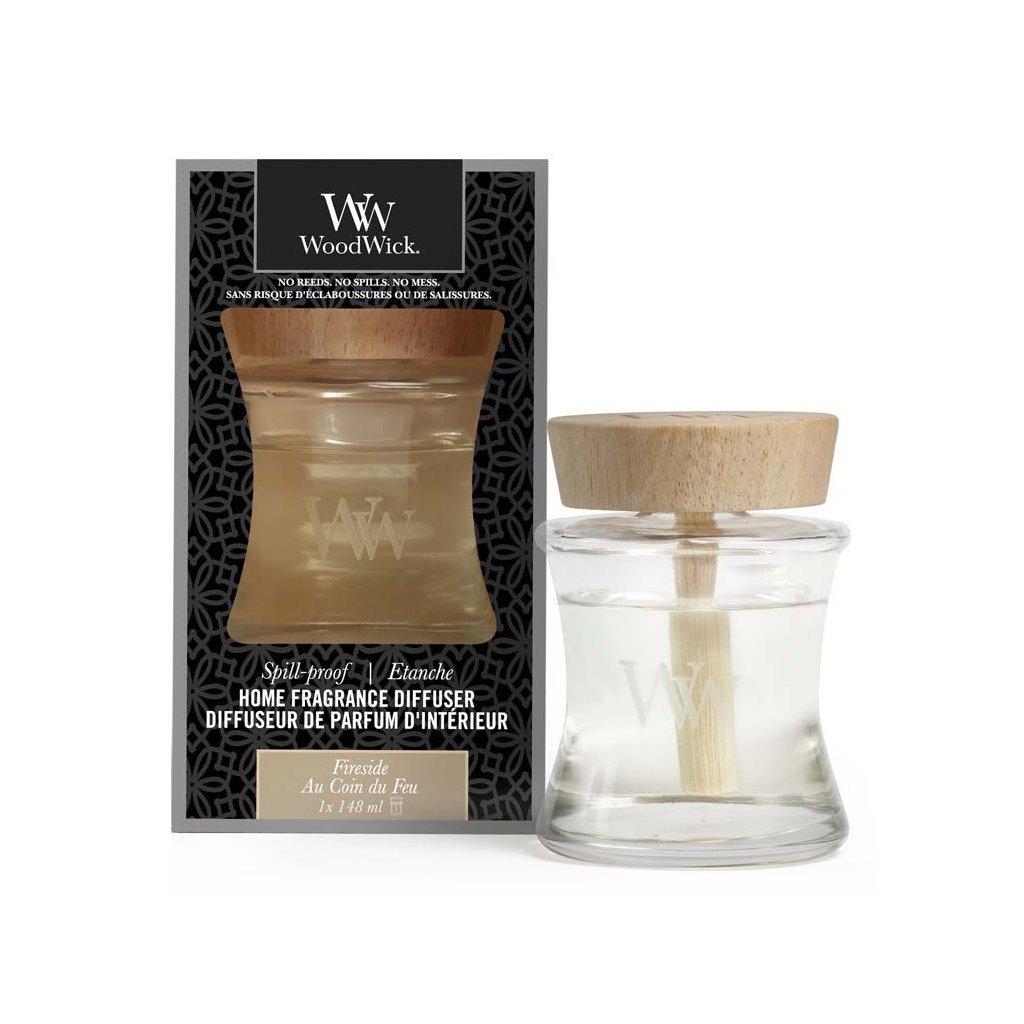 WoodWick - aroma difuzér Fireside (Oheň v krbu) s víčkem proti vylití 148 ml