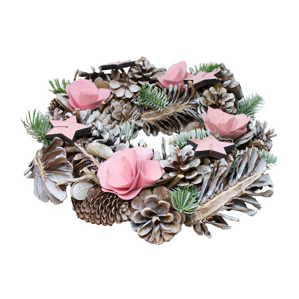 Věnec vánoční dekorační růžový, 30 cm