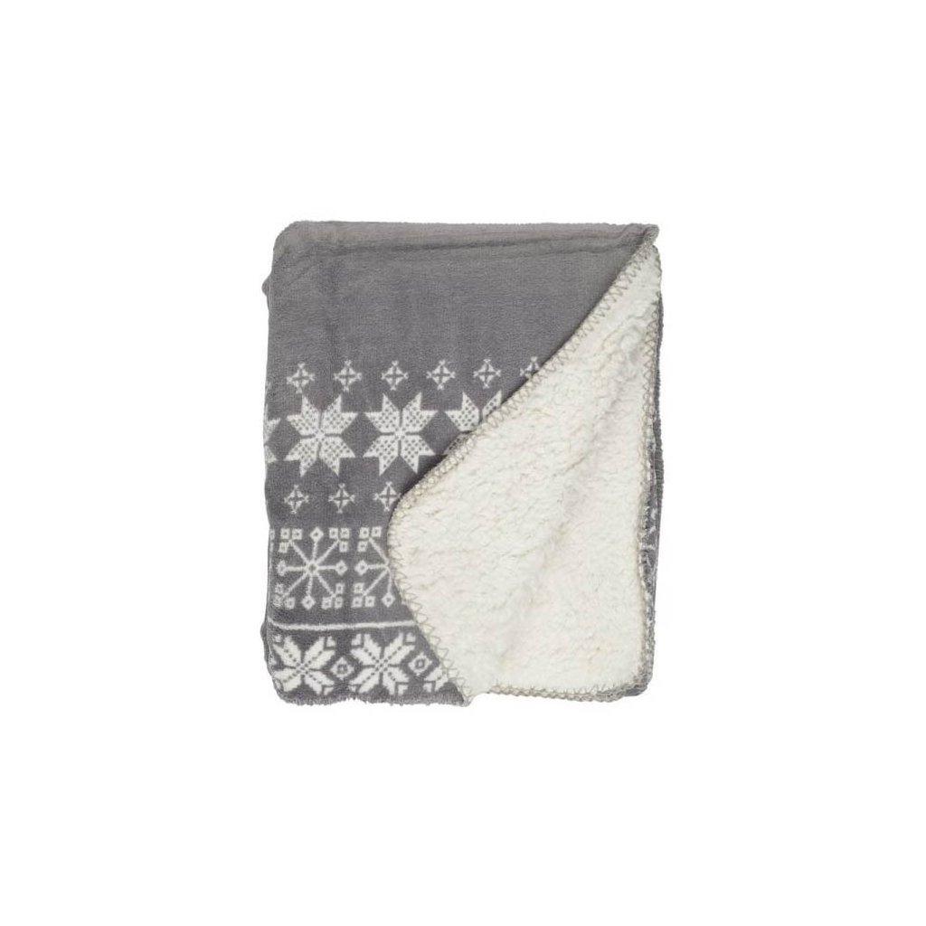 Unique Living - hřejivý pléd Snowflakes, šedý 130x160 cm
