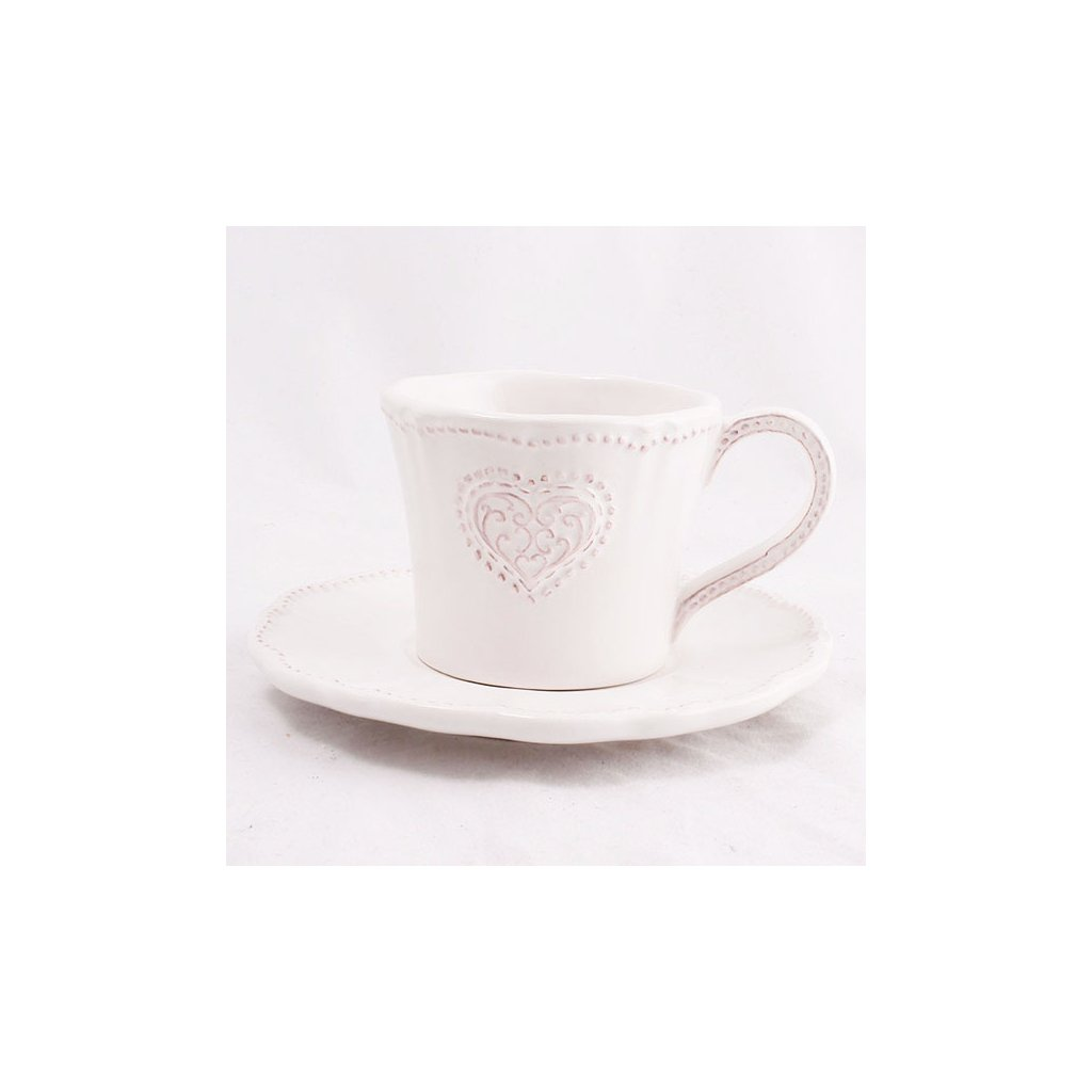 Casa de Engel - keramický šálek s podšálkem Provence bílý 200 ml