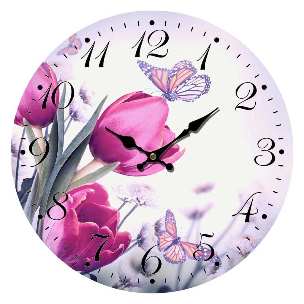 hodiny tulipany 34cm