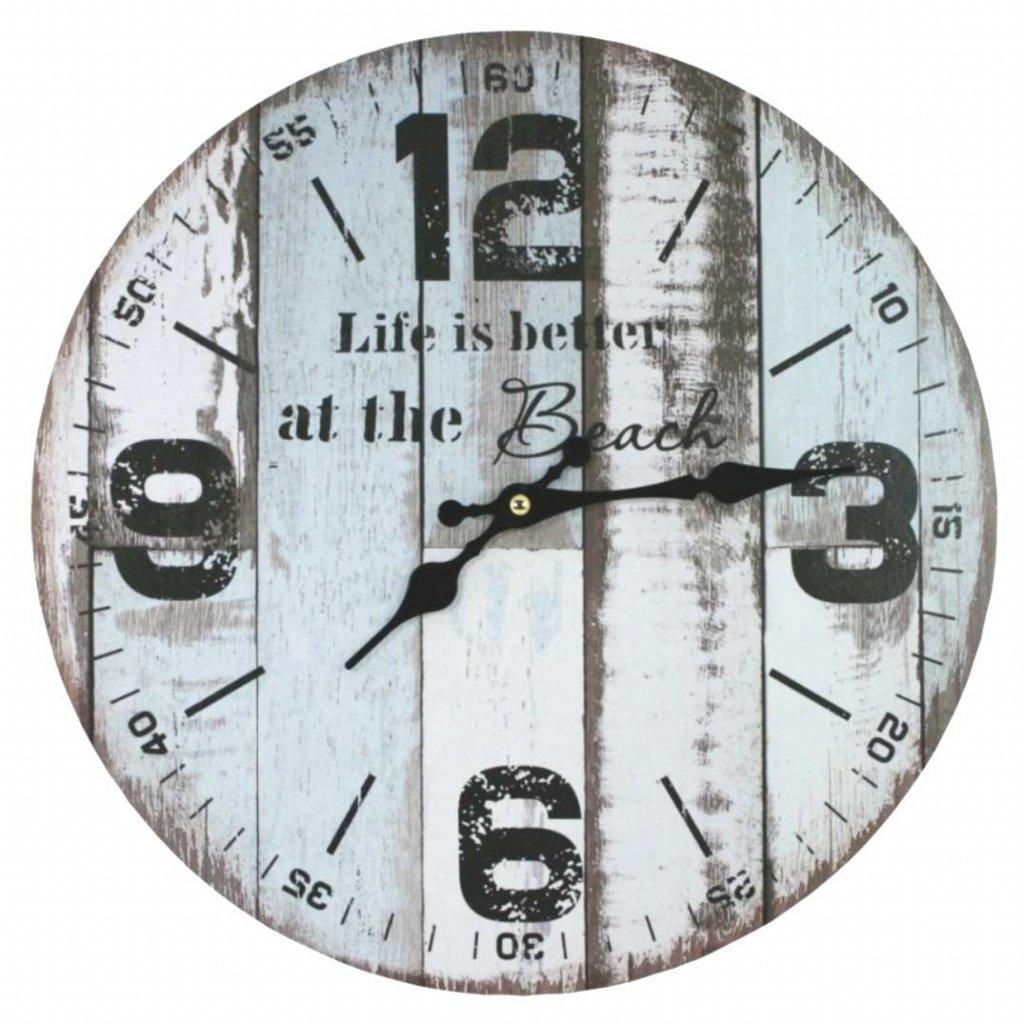 hodiny beach modrobile 34cm