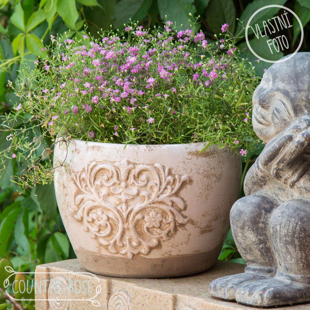Le Herisson - květináč keramický růžový, 22x16 cm