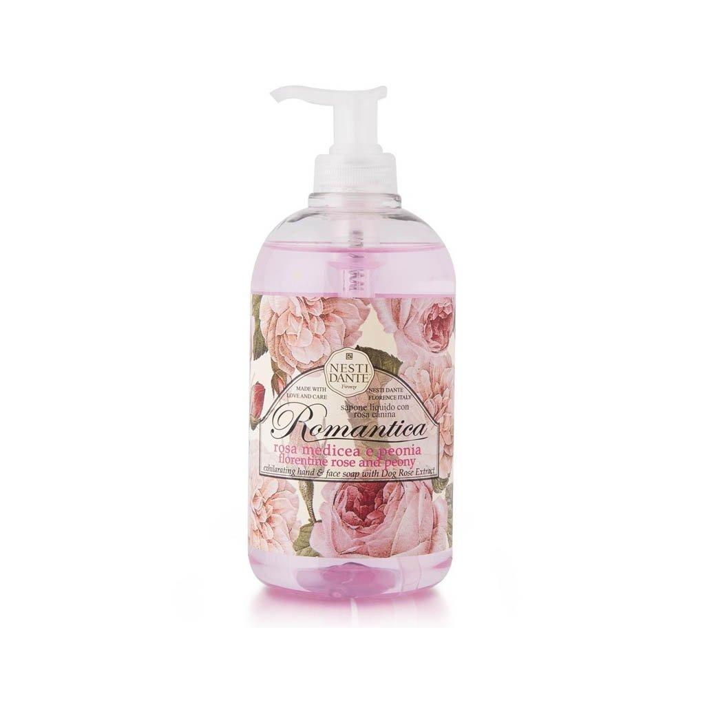 Nesti Dante - přírodní tekuté mýdlo Romantica, Růže s pivoňkou 500 ml