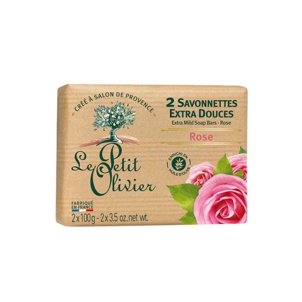 Le Petit Olivier - extra jemné mýdlo Růže 2x100g