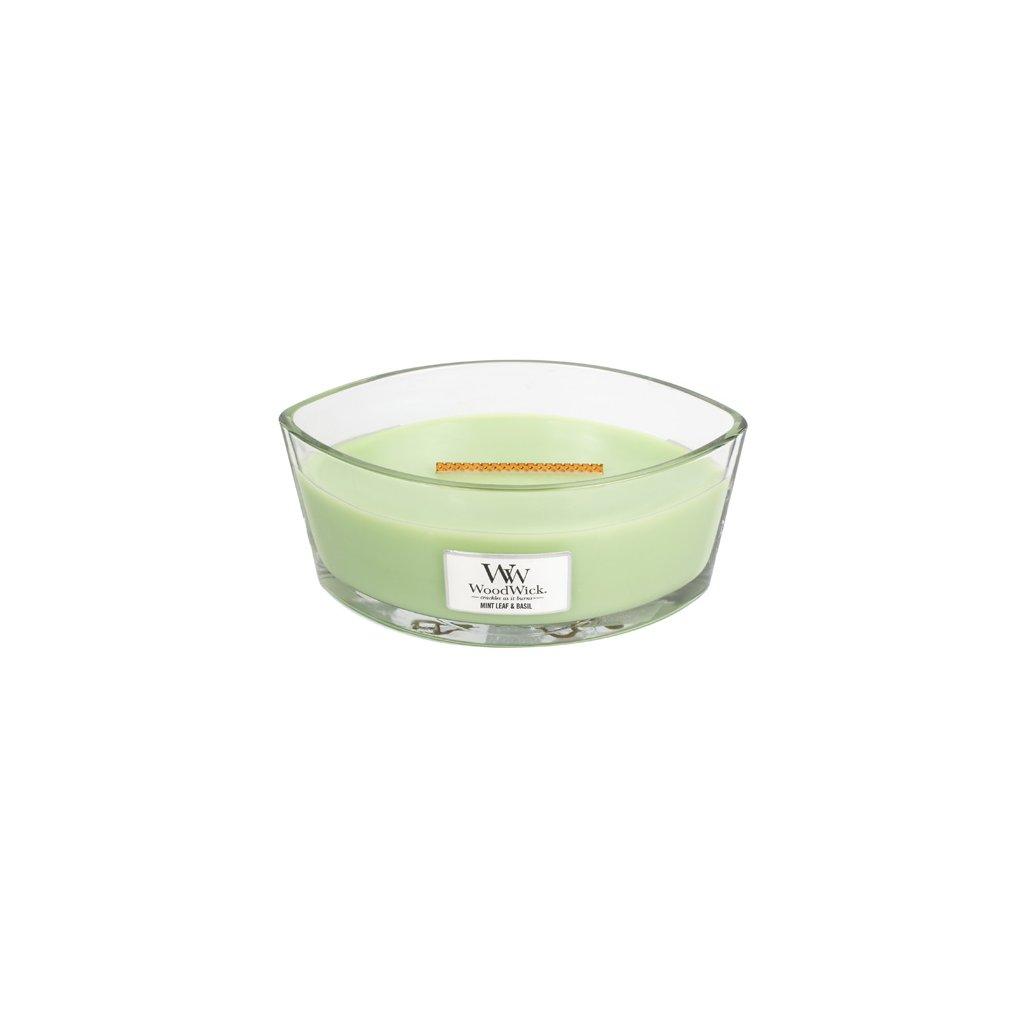 WoodWick - vonná svíčka Mint Leaf & Basil (Máta a bazalka) 453g (neutralizuje zápachy)