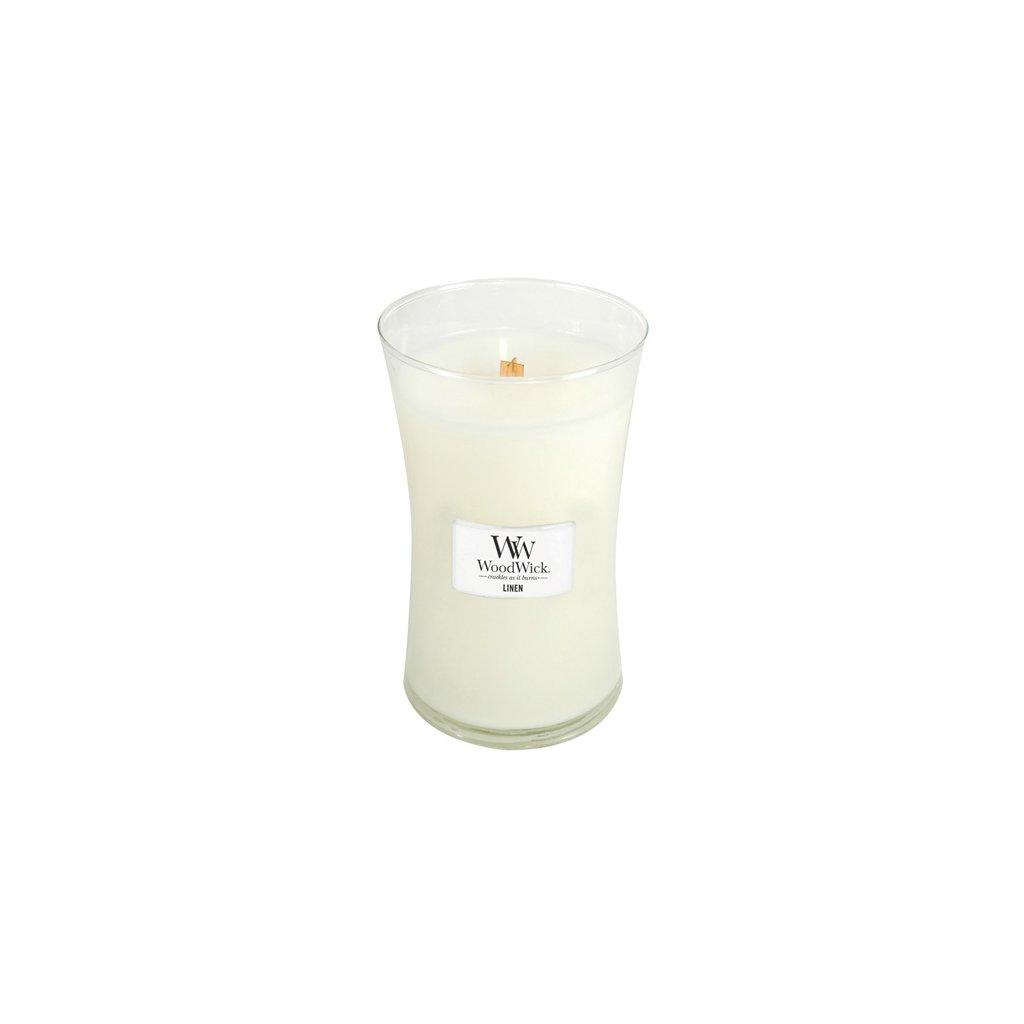 WoodWick - vonná svíčka Linen (Čisté prádlo) 609g