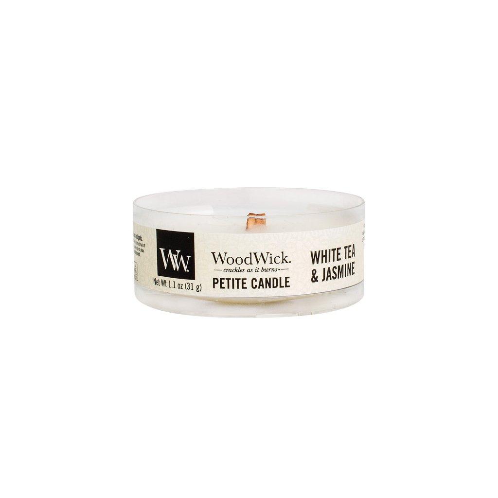 WoodWick - vonná svíčka Petite, White Tea & Jasmine (Bílý čaj a jasmín) 31g