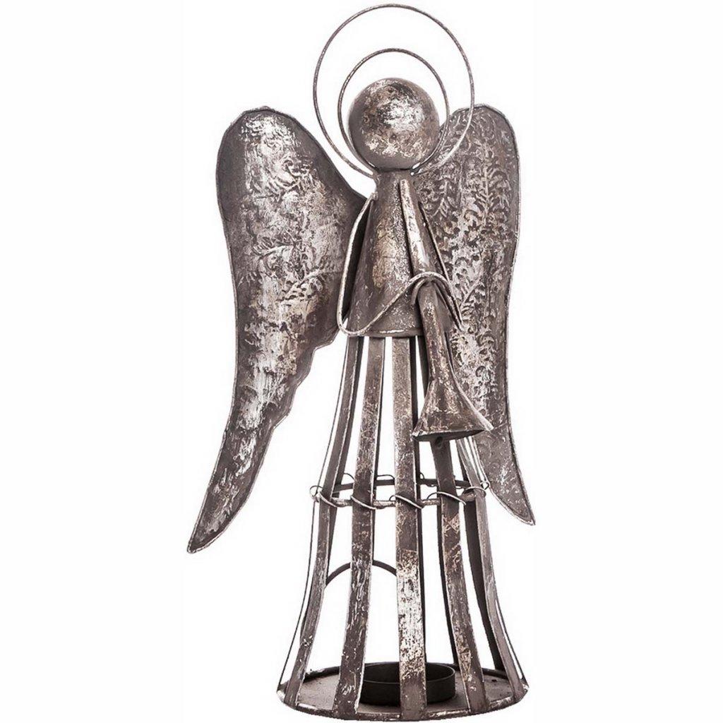 Anděl Patin s trubkou, svícen plechový, 35 cm