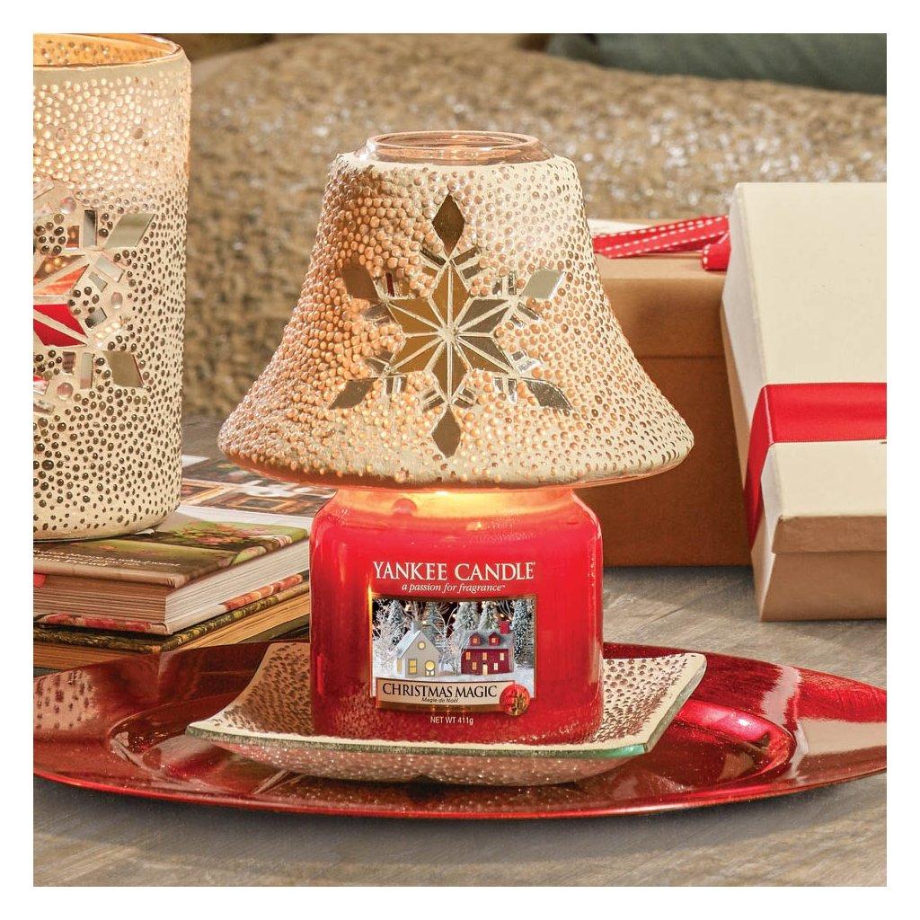 Yankee Candle - sada stínidlo + talířek Twinkling Snowflake
