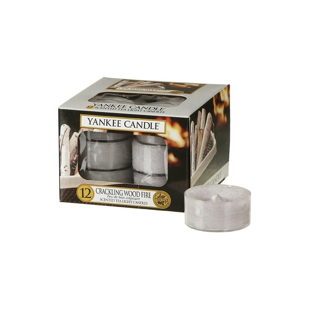 Yankee Candle - čajové svíčky Crackling Wood Fire 12ks