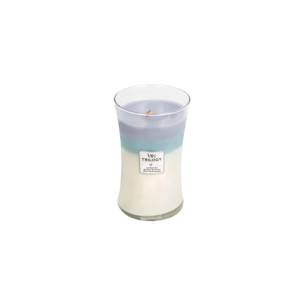 WoodWick - vonná svíčka Calming Retreat Trilogy (Uklidňující ústup) 609g