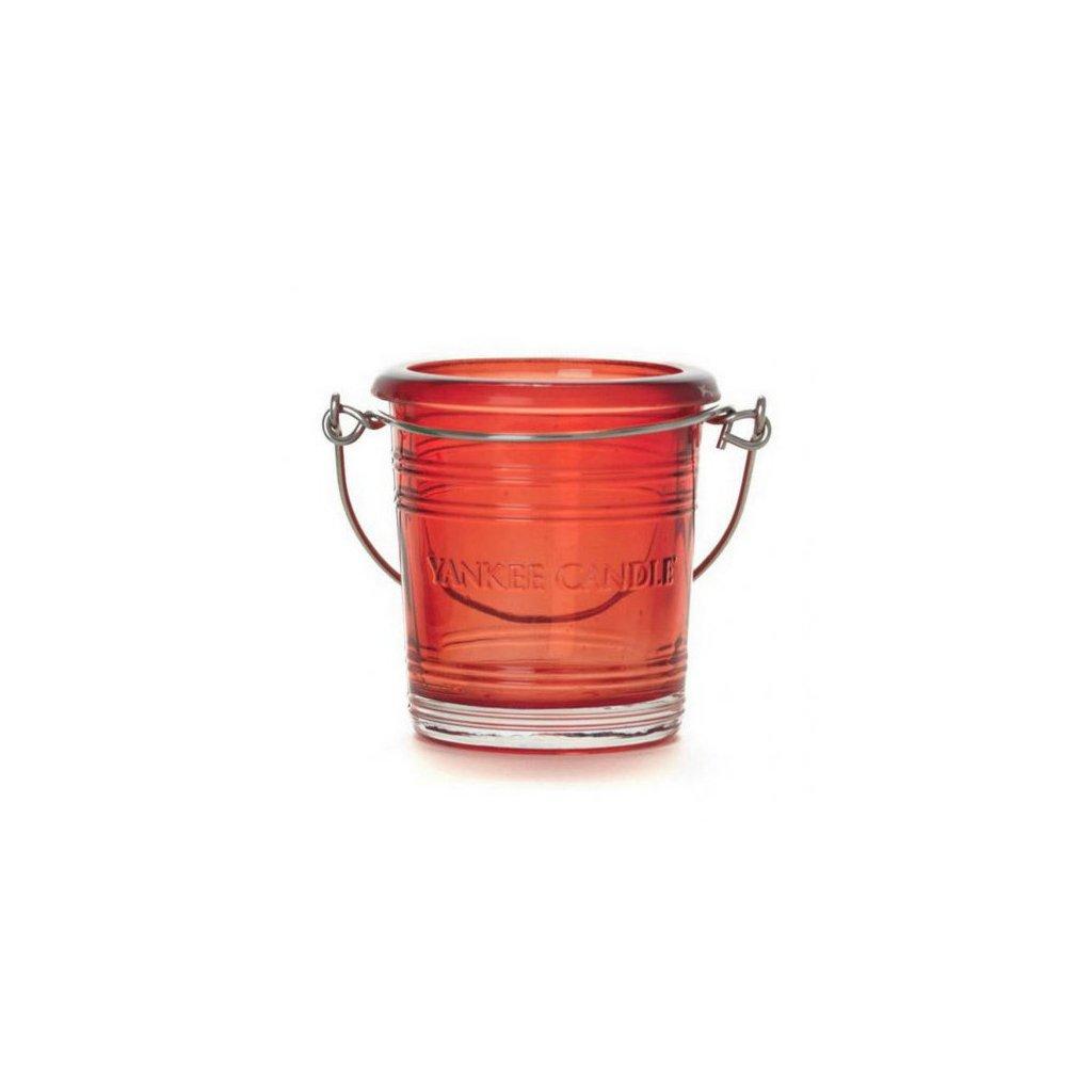 Yankee Candle - svícen Glass Bucket červený