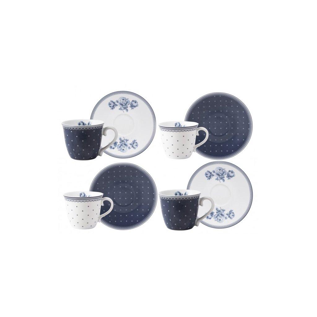 Katie Alice - hrnky na espresso White Floral, dárková sada 4 ks