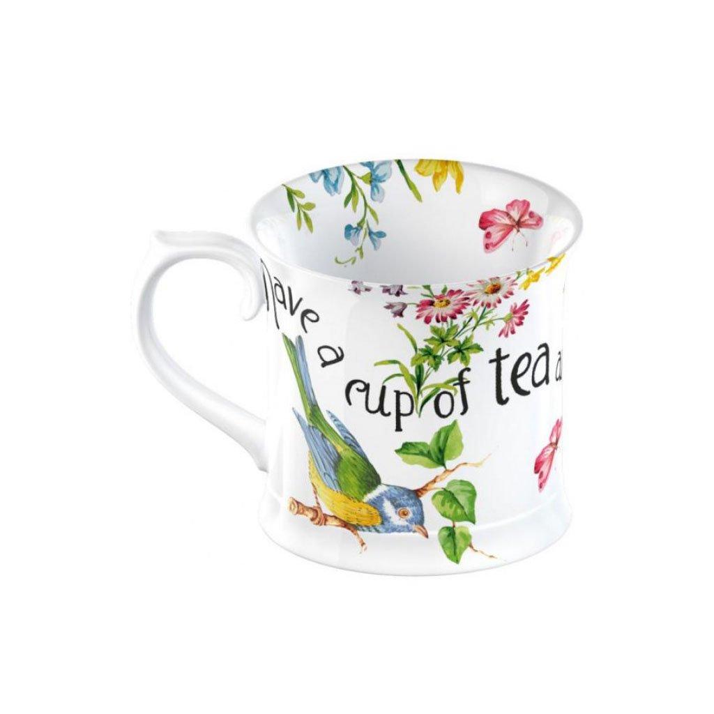 Katie Alice - porcelánový hrnek English Garden s ptáčkem 350 ml
