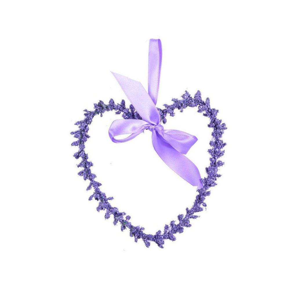 Levandulové srdce, dekorační věnec malý