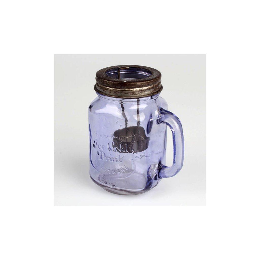 Casa de Engel - skleněný svícen na čajovou svíčku, fialový