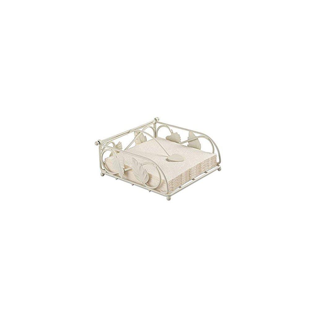 Zásobník na ubrousky - listy, krémový