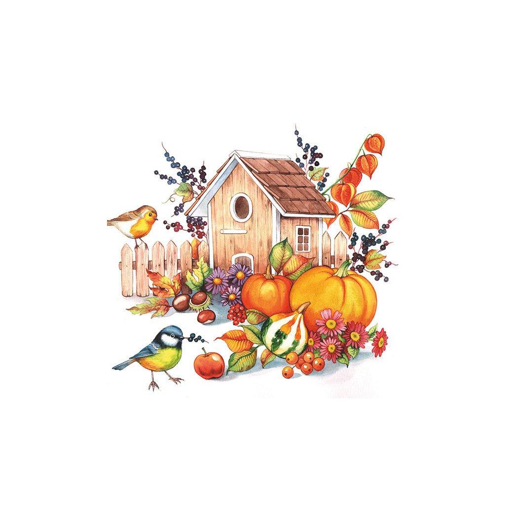 Ubrousky Podzimní budka 33x33 cm, 20 ks