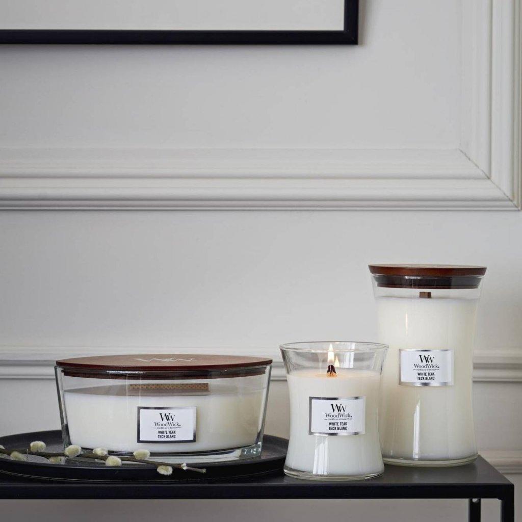 WoodWick - vonná svíčka White Teak (Bílý teak) 275g