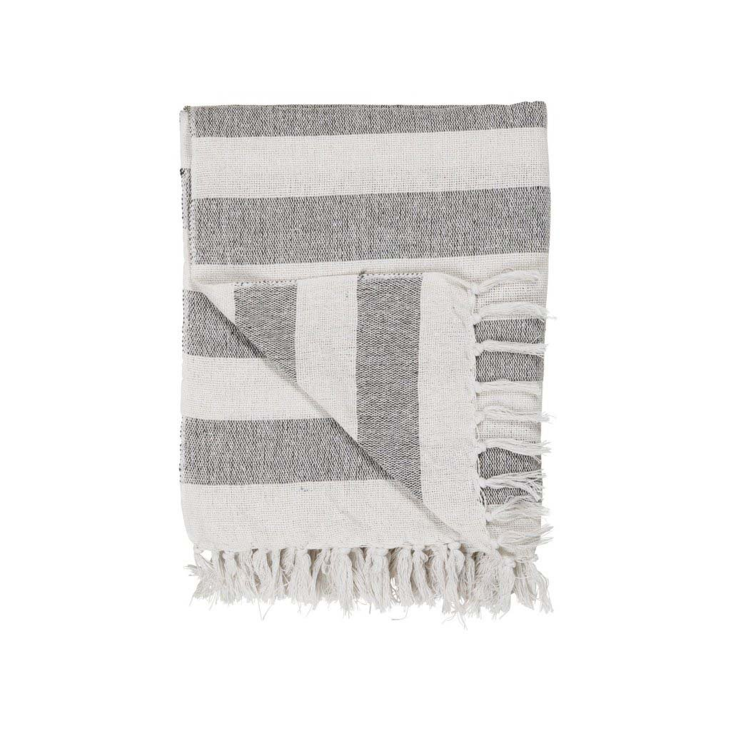 Ib Laursen - bavlněný pléd bílý s černými pruhy 130x160 cm
