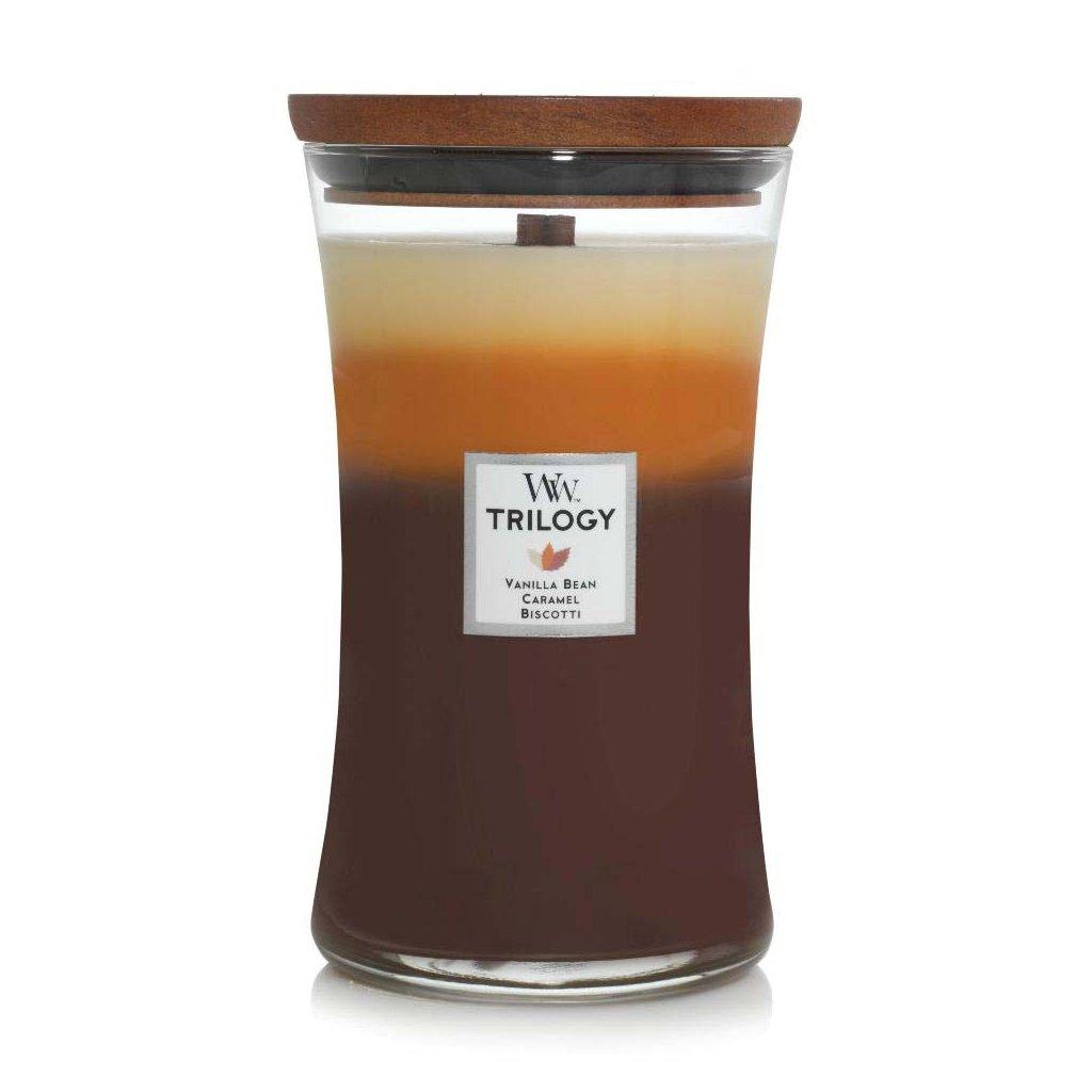 WoodWick - vonná svíčka Cafe Sweets Trilogy (Dezert v kavárně) 609g