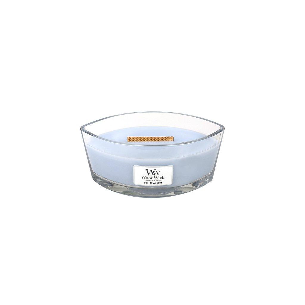 WoodWick - vonná svíčka Soft Chambray (Čisté prádlo) 453g